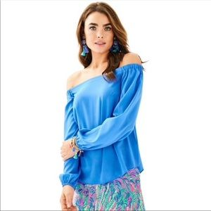 Lilly Pulitzer blue Adira off the shoulder top M